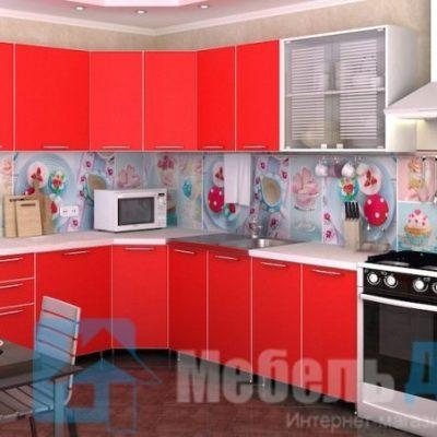 Кухня Радуга угловая красная   (р)
