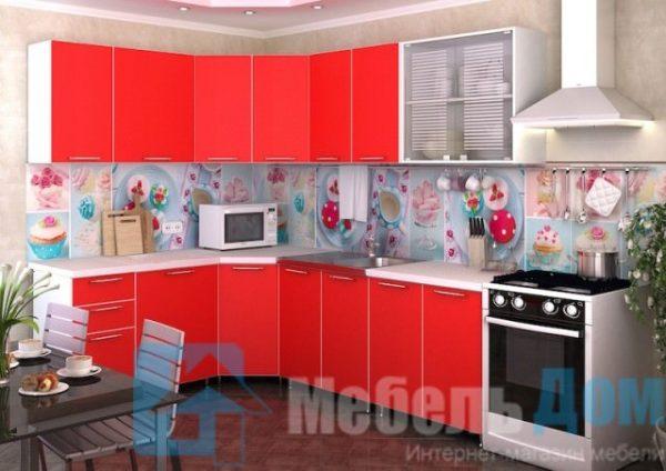 """Кухня """"Радуга"""" угловая красная (р)"""