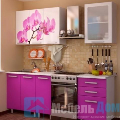 Кухня Орхидея фотопечать МДФ 1,6 м (б)