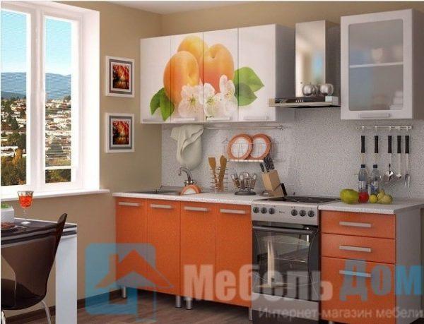 Кухня Персик фотопечать МДФ 1,8 м (б)