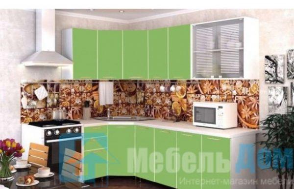 """Кухня """"Радуга"""" зеленая мамба угловая (р)"""