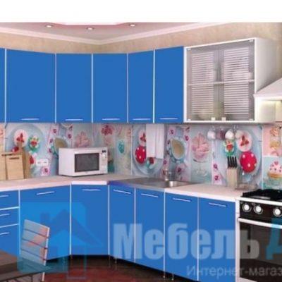 Кухня «Радуга» угловая синий (р)
