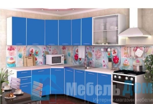 """Кухня """"Радуга"""" угловая синий (р)"""