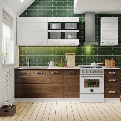 Кухня Техно-2 МДФ белая/дерево (м)