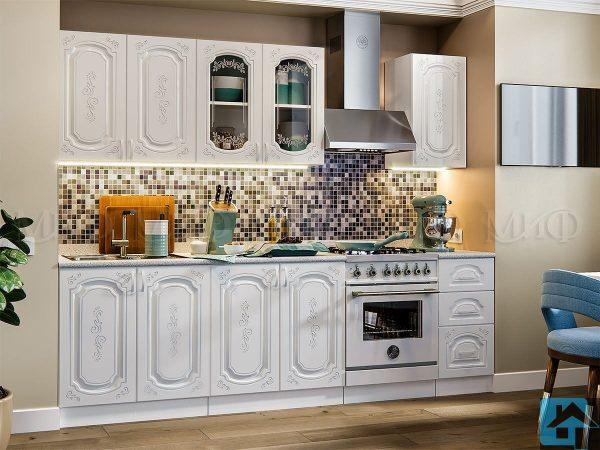 Кухня Лиза-2 МДФ белая (м)