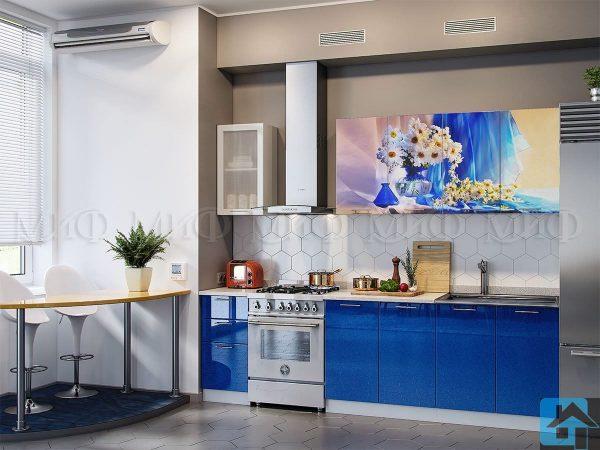 Кухня Ромашки фотопечать (синяя) МДФ (м)
