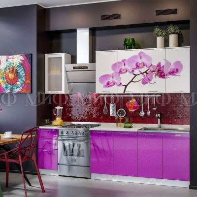 Кухня Орхидея (фиолет) фотопечать МДФ 2,0м (м)