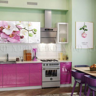 Кухня Орхидея (сиреневая) фотопечать МДФ (м)