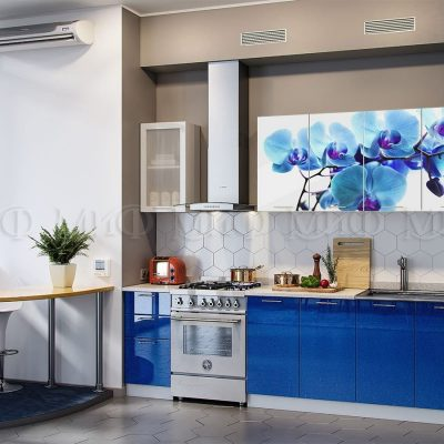 Кухня Орхидея фотопечать (синяя) МДФ (м)