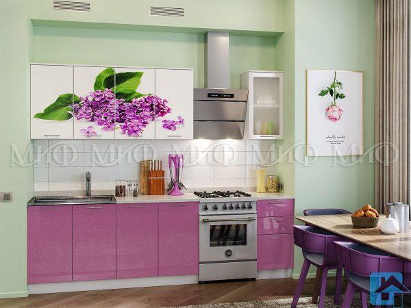 Кухня Сирень фотопечать МДФ 2,0м (м)