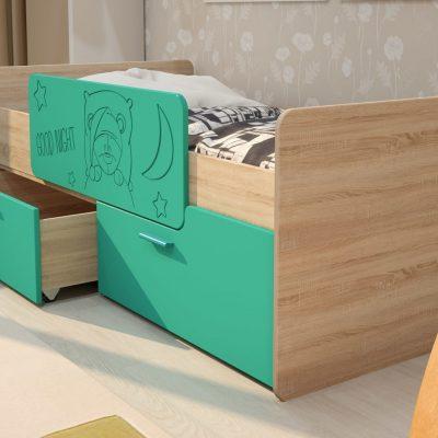 Кровать «Умка»с ящиками и ограничителем МДФ (иц)