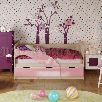Кровать «Дельфин-1» Розовый металлик (м)