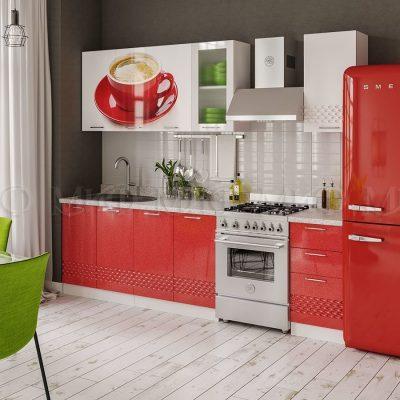 Кухня Волна 3D красная с фотопечатью МДФ (м)