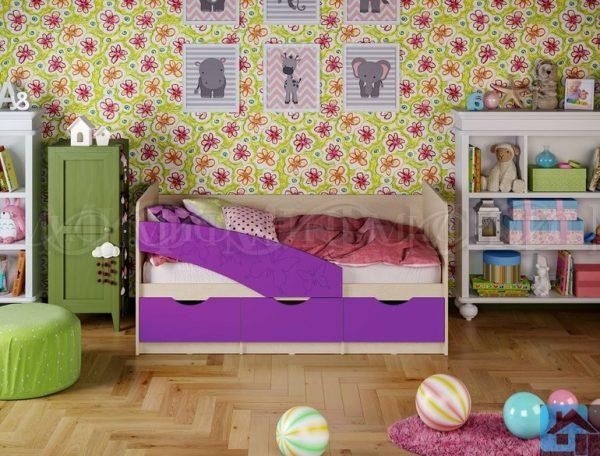 """Кровать """"Бабочки"""" фиолетовый металлик (м)"""