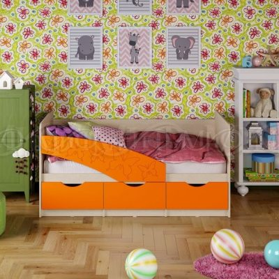 Кровать «Бабочки» оранж металлик (м)