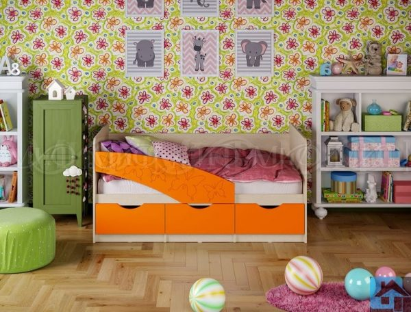 "Кровать ""Бабочки"" оранж металлик (м)"