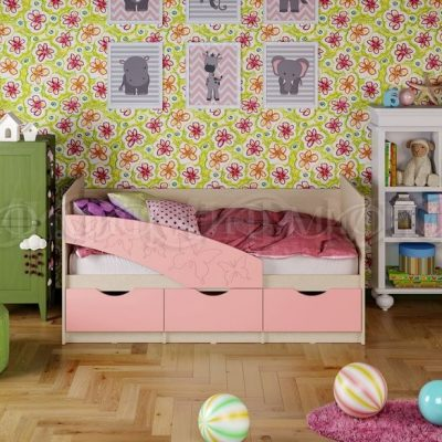 Кровать «Бабочки» розовый металлик (м)