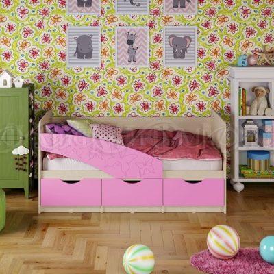 Кровать «Бабочки» сиреневый (м)