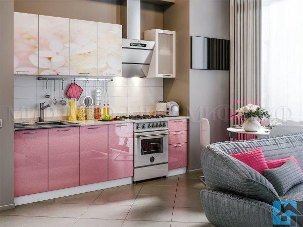 Кухня Вишнёвый цвет с фотопечатью МДФ 2,0м (м)