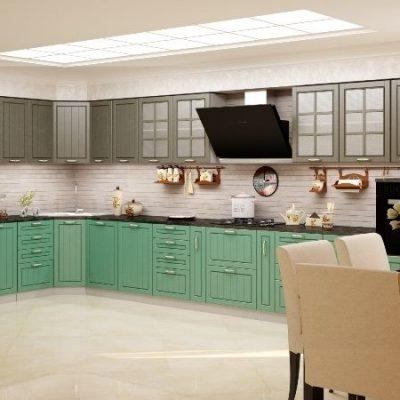 Кухонный гарнитур угловой Лондон 1,85х4,95м  верх дуб графит (иц)
