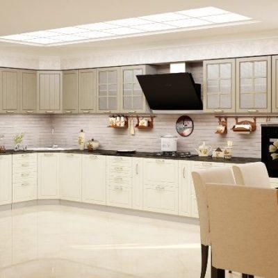Кухонный гарнитур угловой Лондон 1,85х4,95м верх  дуб капучино (иц)