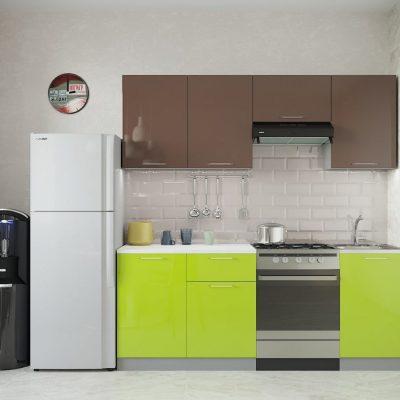Кухня «Олива» МДФ верх Шоколад глянец 2,1 м. (иц)
