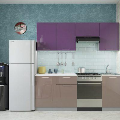 Кухня «Олива» МДФ верх Фиолетовый глянец 2,1 м. (иц)