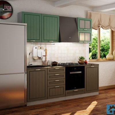 Кухонный гарнитур Лондон 2,10м верх дуб изумруд (иц)