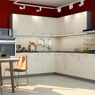 Кухонный гарнитур угловой 2,6*3,0м «Виста» белый глянец (иц)