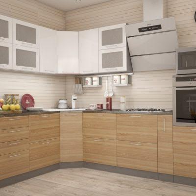 Кухонный гарнитур угловой 2,31м*2,85м «Олива» дуб сонома + белый металлик (иц)