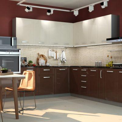 Кухонный гарнитур угловой 2,6*3,0м «Виста» белый глянец + шоколад глянец (иц)