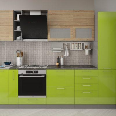 Кухонный гарнитур 3,10м «Олива» дуб сонома+зелёный мталлик (иц)