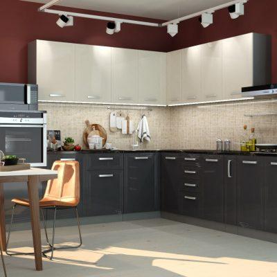 Кухонный гарнитур угловой 2,6*3,0м «Виста» белый глянец + дым глянец (иц)
