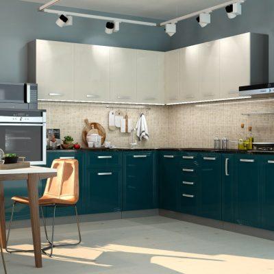 Кухонный гарнитур угловой 2,6*3,0м «Виста» белый глянец + океан глянец (иц)