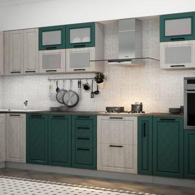 Кухонный гарнитур угловой 4,0*1,6 м «Барселона» комбинир. (иц)