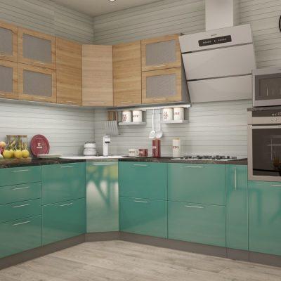 Кухонный гарнитур угловой 2,31м*2,85м «Олива» дуб сонома + бирюза металлик (иц)