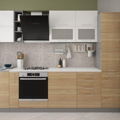 Кухонный гарнитур 3,10м «Олива» дуб сонома+белый металлик (иц)