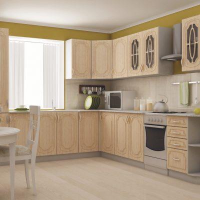 Кухонный гарнитур угловой 2,6*2,5м «Настя» Берёза (иц)