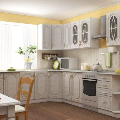 Кухонный гарнитур угловой 2,45*2,35м «Настя» Жемчуг (иц)
