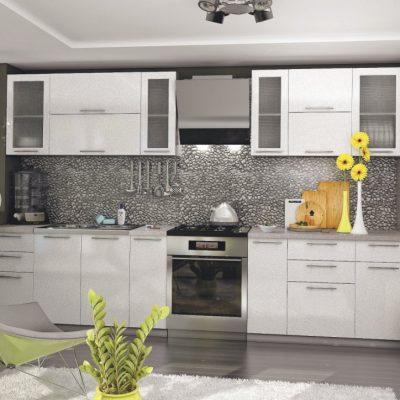 Кухонный гарнитур 3,10м «Олива» белый металлик (иц)