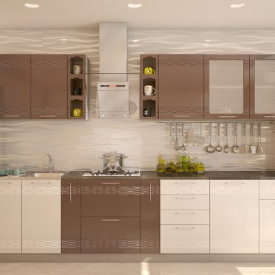 Кухонный гарнитур 3,30 м «Мокко» шоколад глянец + белый глянец (иц)