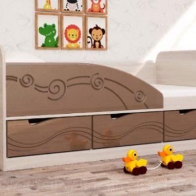 Детская кровать 4 «Бриз» Волна шоколад (дл)