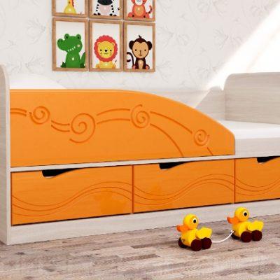 """Детская кровать 4 """"Бриз"""" Волна оранж (дл)"""