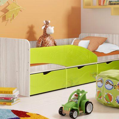 Детская кровать 3 «Бриз» Волна лайм (дл)