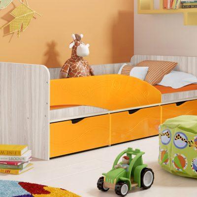 Детская кровать 3 «Бриз» Волна оранж (дл)