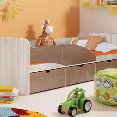 Детская кровать 3 «Бриз» Квадрат шоколад (дл)