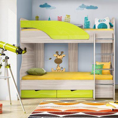 Детская кровать 5 «Бриз» Волна лайм (дл)