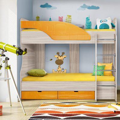 Детская кровать 5 «Бриз» Квадрат оранж (дл)
