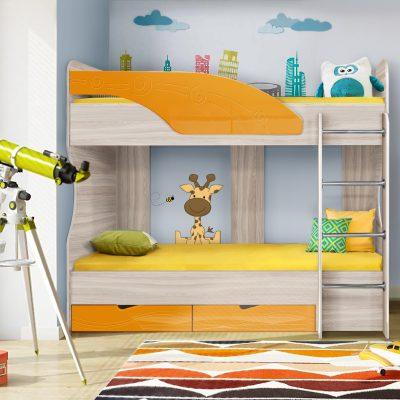 Детская кровать 5 «Бриз» Волна оранж (дл)