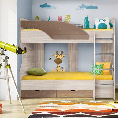 Детская кровать 5 «Бриз» Волна шоколад (дл)